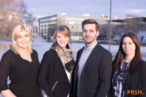 Foto: Carina Temmen (stellv. Vorsitzende), Katharina Striewe (Finanzvorstand), Jan Reinholz (stellv. Vorsitzender), Loreen Abedi (Vorstandsvorsitzende), (v.l.n.r.)