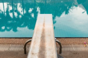 A Springboard to dive at swimmingpool