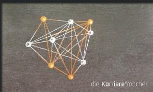 Kreidezeichnung auf Schiefertafel: Netzwerk